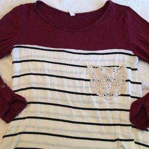 Elbow length burgundy red striped shirt